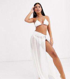 Белая юбка макси из переработанных материалов с перекрученной отделкой ASOS DESIGN PETITE-Белый Petite