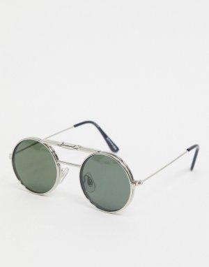 Серебристые очки в круглой подъемной оправе с зелеными стеклами -Серебряный Spitfire