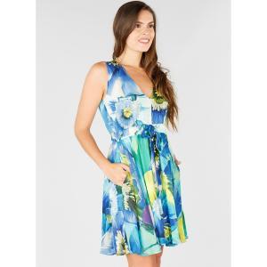 Платье расклешенное с завязками на поясе, без рукавов DERHY. Цвет: синий/цветы