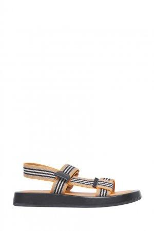 Полосатые сандалии в спортивном стиле Burberry. Цвет: оранжевый