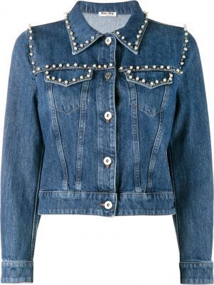 Джинсовая куртка с отделкой жемчужинами Miu. Цвет: синий