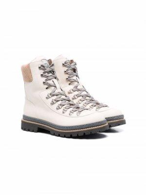 TEEN ankle-length lace-up leather boots Brunello Cucinelli Kids. Цвет: нейтральные цвета