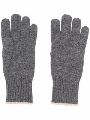 Кашемировые перчатки в рубчик Brunello Cucinelli. Цвет: серый