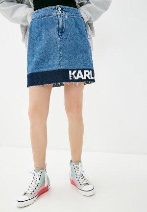 Юбка джинсовая Karl Lagerfeld Denim. Цвет: синий