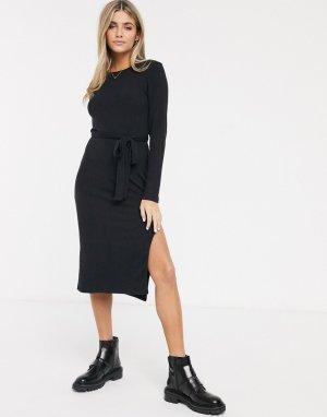 Платье миди в рубчик с разрезом и поясом -Черный Abercrombie & Fitch