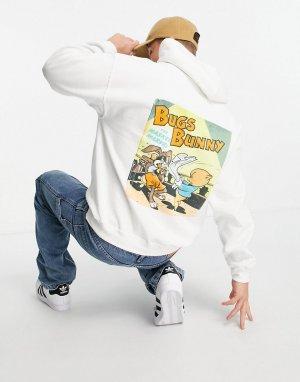 Худи белого цвета с винтажным постером Багзом Банни-Белый Poetic Brands