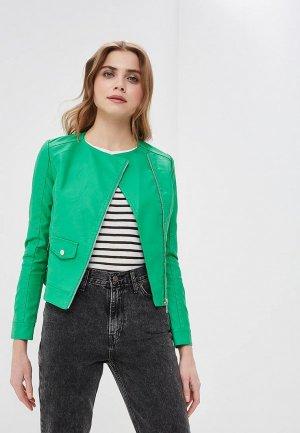 Куртка кожаная Z-Design. Цвет: зеленый