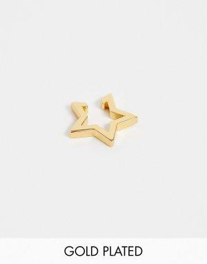 Позолоченный кафф с дизайном звезда -Золотой Orelia