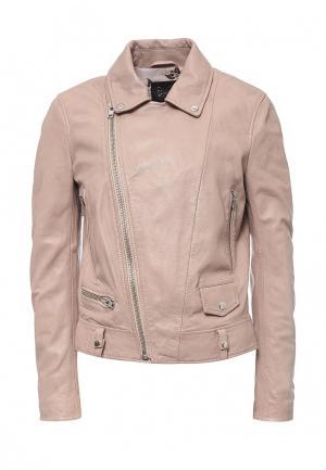 Куртка кожаная Blouson BL033EWQGN35. Цвет: розовый