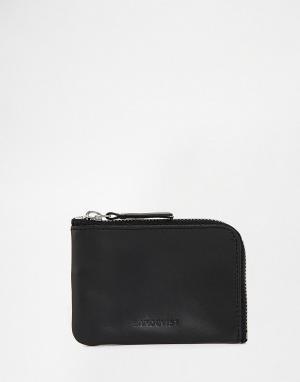 Кожаный кошелек на молнии Sandqvist. Цвет: черный
