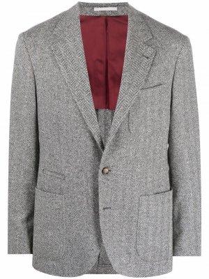 Однобортный пиджак с узором в елочку Brunello Cucinelli. Цвет: серый
