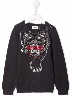Толстовка с вышивкой Tiger Kenzo Kids. Цвет: серый