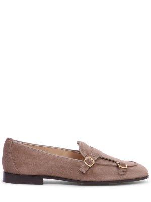 Туфли-монки замшевые DOUCAL`S. Цвет: коричневый
