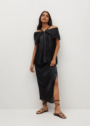 Струящаяся атласная блузка - Monte-a Mango. Цвет: черный