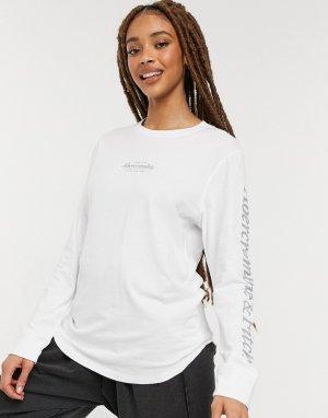 Белый лонгслив с круглым вырезом и логотипом Abercrombie & Fitch