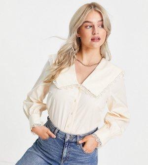 Кремовая рубашка с большим воротником и кружевной отделкой -Белый Y.A.S Petite