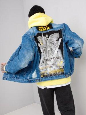 Куртка джинсовая ART SPRAY P. Black Star Wear. Цвет: голубой