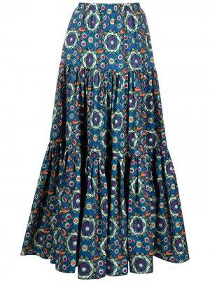 Расклешенная юбка макси с геометричным узором La Doublej. Цвет: синий