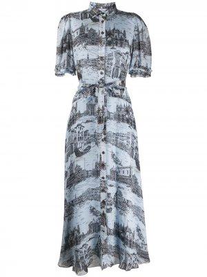 Платье-рубашка Faye Derek Lam 10 Crosby. Цвет: синий