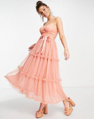 Платье мидакси персикового цвета с открытыми плечами и вырезом в форме сердечка -Оранжевый цвет Forever U