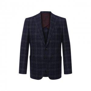 Пиджак из шерсти и шелка Luciano Barbera. Цвет: синий