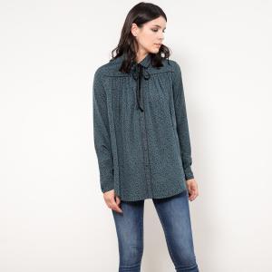 Блуза из струящейся ткани с длинными рукавами, рисунок в горошек LE TEMPS DES CERISES. Цвет: зеленый/ черный