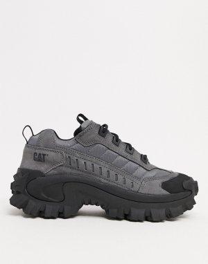 Серые замшевые кроссовки на толстой подошве CAT intruder-Серый Footwear