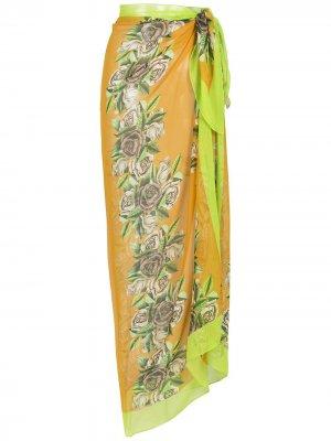 Парео с цветочным принтом Amir Slama. Цвет: оранжевый