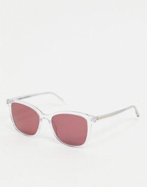 Квадратные солнцезащитные очки с розовыми стеклами -Очистить Tommy Hilfiger