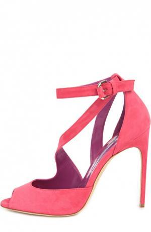 Замшевые босоножки Michelle Brian Atwood. Цвет: розовый