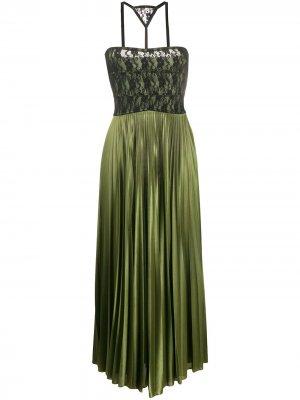 Плиссированное платье миди с кружевным верхом Christopher Kane. Цвет: зеленый