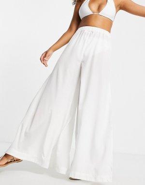 Белые пляжные брюки с широкими штанинами -Белый ASOS DESIGN