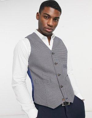 Серый приталенный жилет -Коричневый цвет ASOS DESIGN