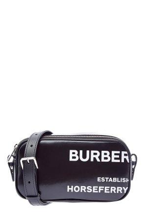 Сумка на плечо или пояс из хлопка с глянцевым покрытием BURBERRY. Цвет: черный
