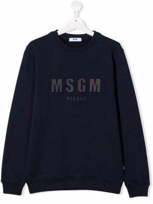 Logo-patch cotton sweatshirt MSGM Kids. Цвет: синий