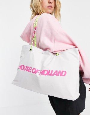 Белая сумка-шопер из ткани с логотипом и ремешками шнурков цепочки -Белый House of Holland