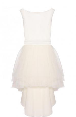Платье с пышной юбкой и бантом на спинке Aletta. Цвет: белый