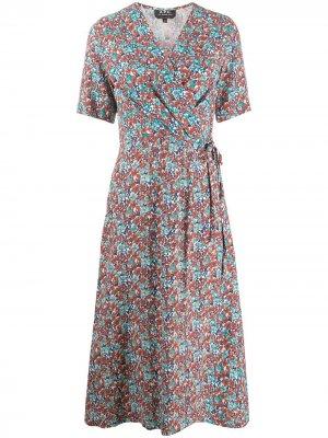 Платье с запахом и цветочным принтом A.P.C.. Цвет: красный