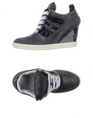 Высокие кеды и кроссовки KATIE GRAND LOVES HOGAN. Цвет: серый