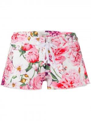 Джинсовые шорты с цветочным принтом Laneus. Цвет: белый