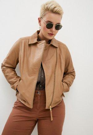 Куртка кожаная Marina Rinaldi Sport EBANISTA. Цвет: коричневый