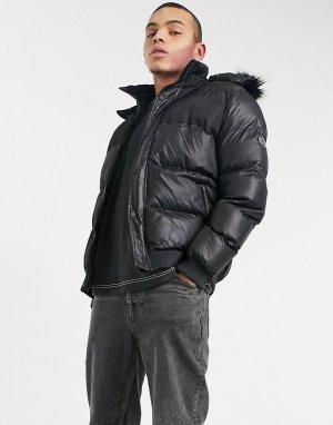 Дутая стеганая куртка черного цвета с глянцевым оттенком -Черный цвет Criminal Damage