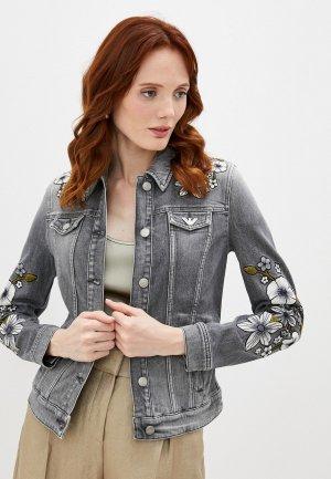 Куртка джинсовая Emporio Armani. Цвет: серый