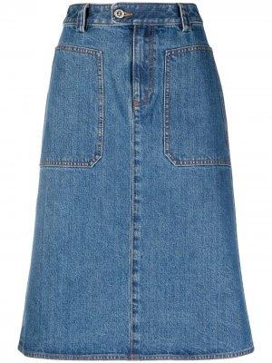 Джинсовая юбка миди A.P.C.. Цвет: синий