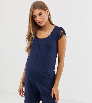 Ромпер для кормящих мам с кружевной отделкой Mamalicious-Темно-синий Mama.licious