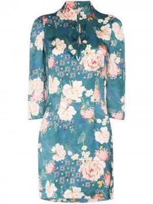 Платье-трапеция Chinoise с высоким воротником byTiMo. Цвет: зеленый