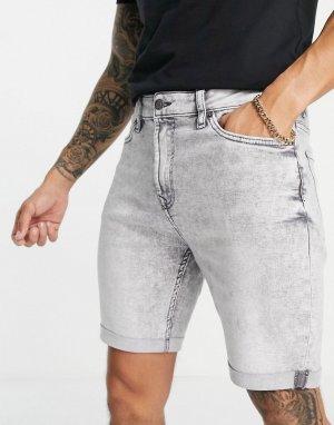 Серые супероблегающие джинсовые шорты -Серый Bershka