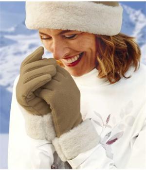 Перчатки из Флиса с Отделкой Мехом Atlas For Men. Цвет: светло-коричневый