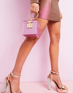 Клатч-футляр с блестками -Розовый ASOS DESIGN