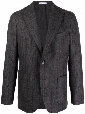 Однобортный пиджак в тонкую полоску Boglioli. Цвет: серый
